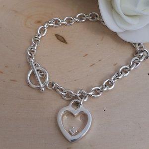 Jewelry - 925 Sterling Silver Diamond Heart Toggle Bracelet
